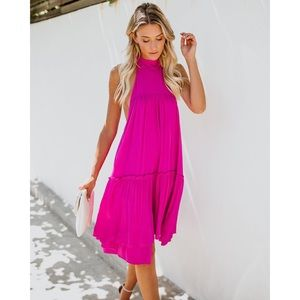 NEW Vici Fuchsia Way Up High Low Mini Dress